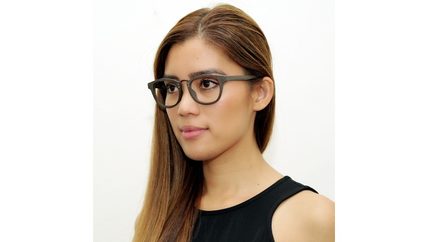 Brown Wooden Glasses with Metal Bridge