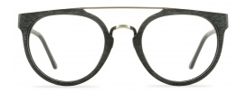 Black Wood Eyeglasses with Metal Bar